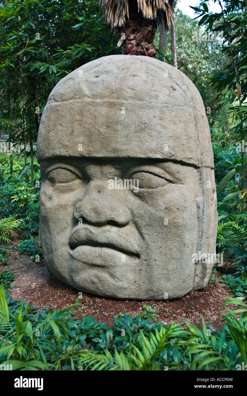 Olmec colossal sculpture head in national museum of