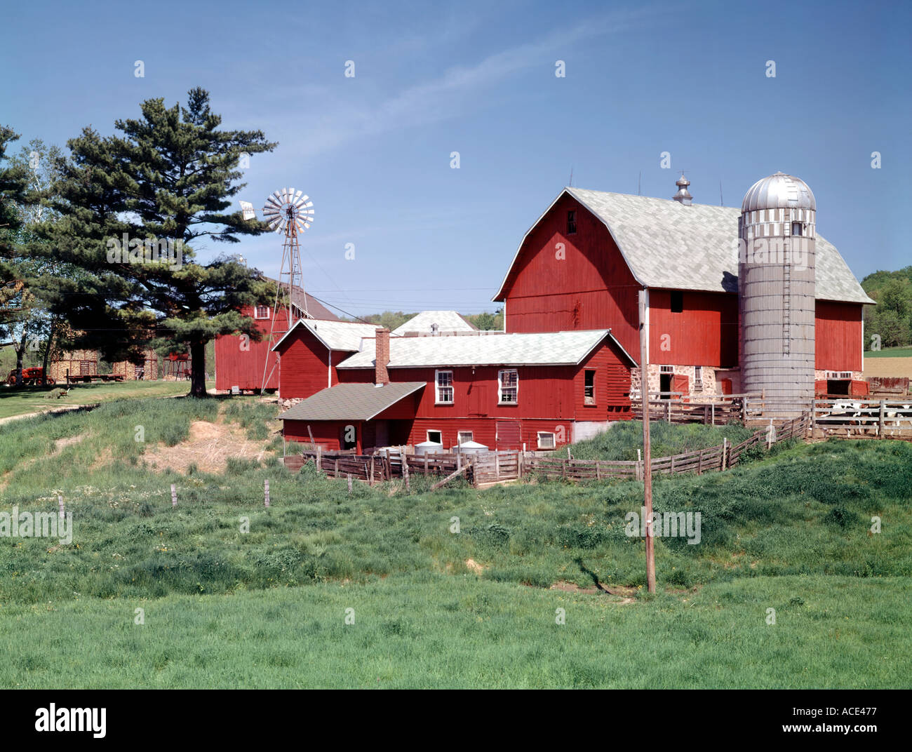 Wisconsin dairy farm with red barn silo and windmill Stock ...