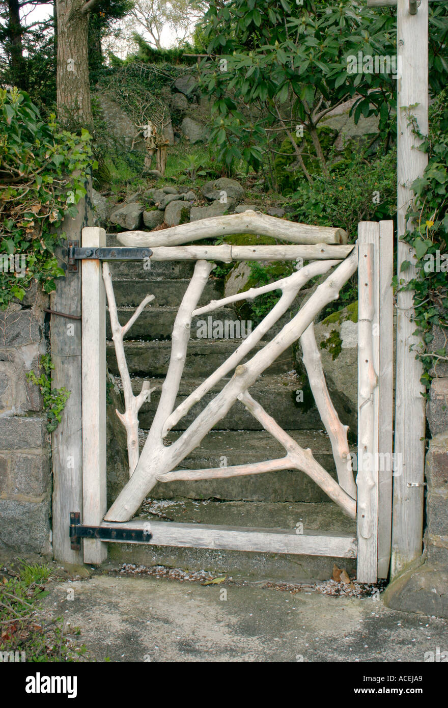 Garden Gate Made From Tree Branches Stock Photo 4287144