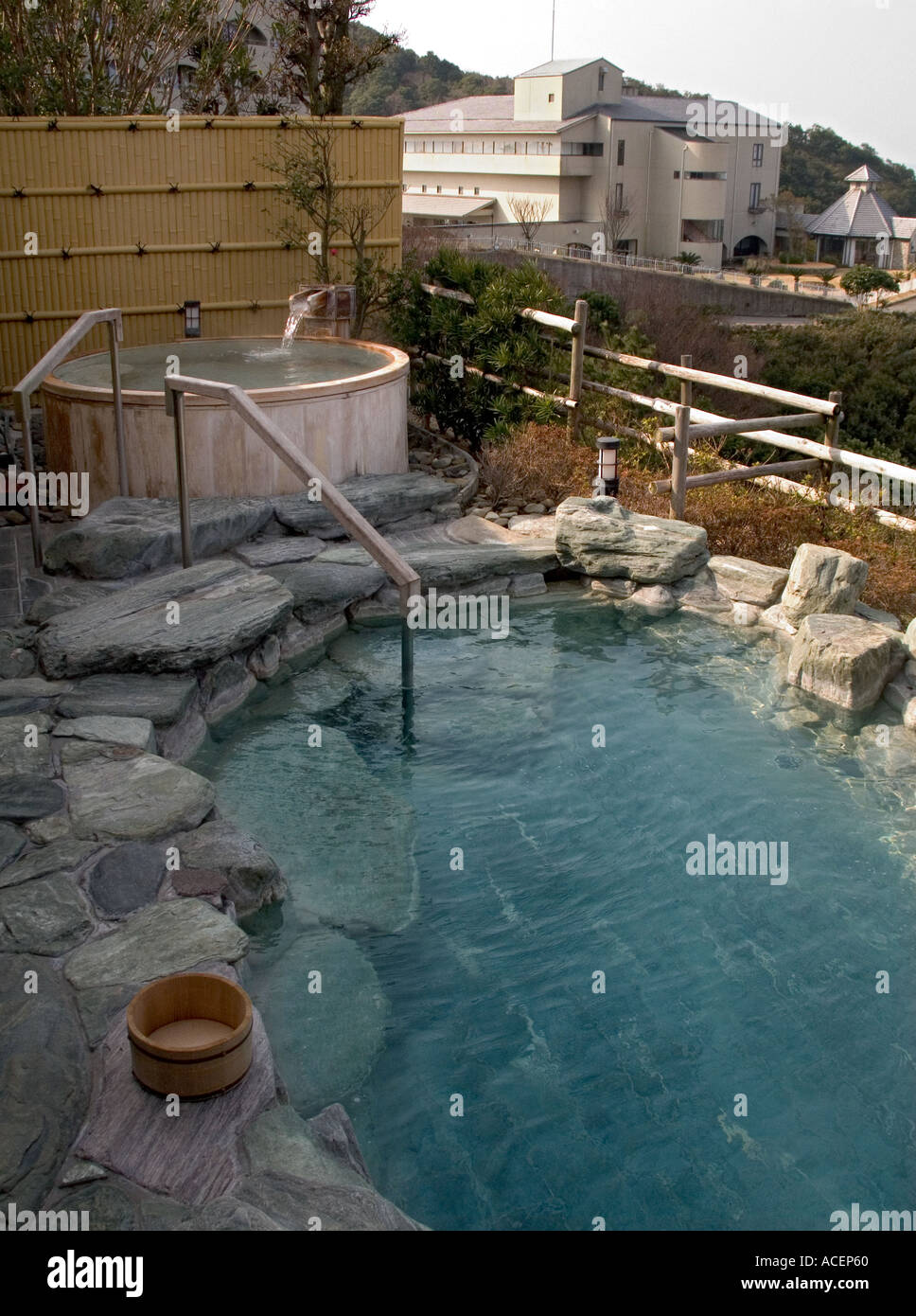 Outdoor natural pool  Natural outdoor soaking pool called rotenburo at hot springs spa ...
