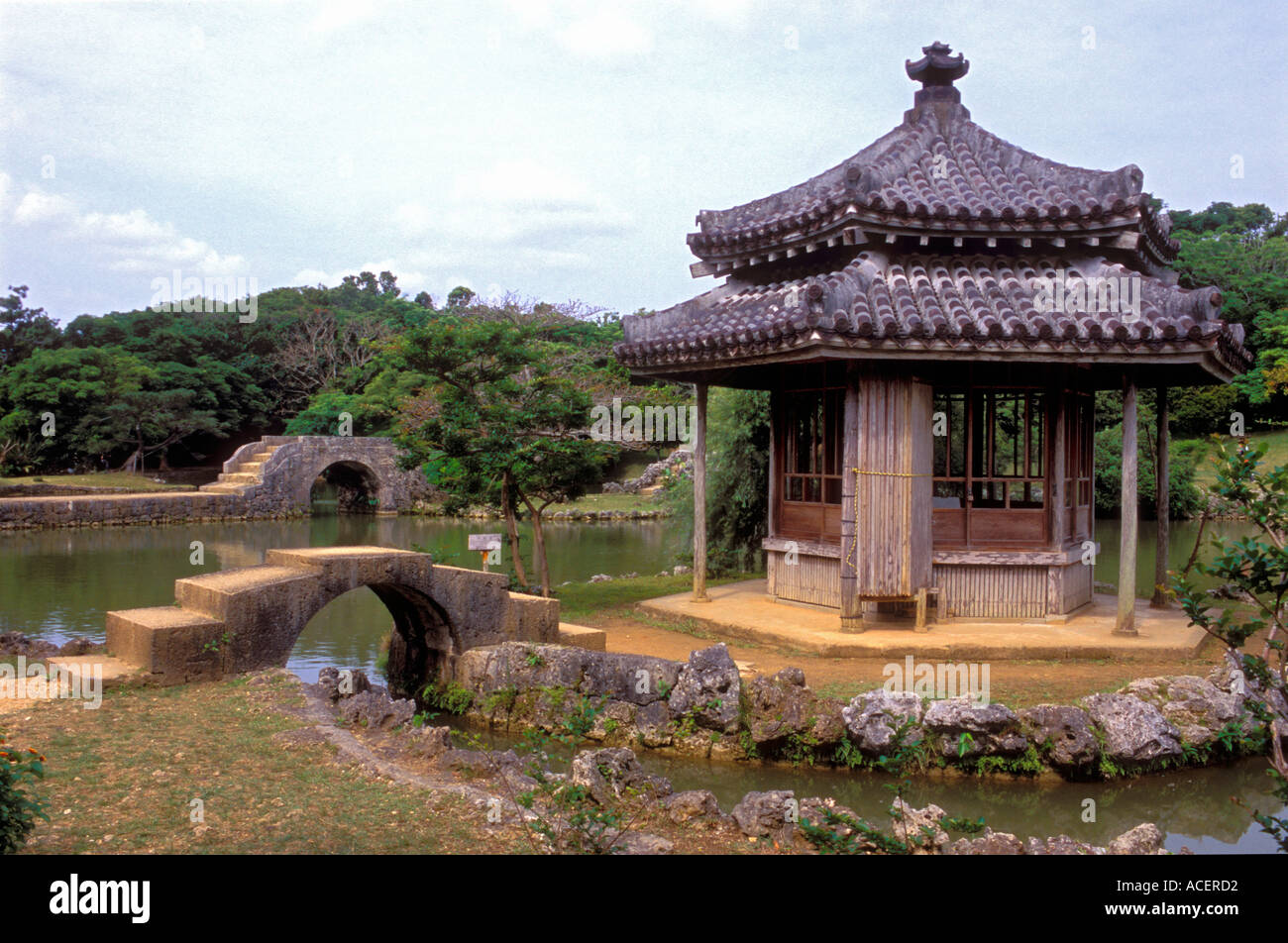 Hexagonal Pagoda With Stone Bridges In Shikinaen Garden In Okinawa