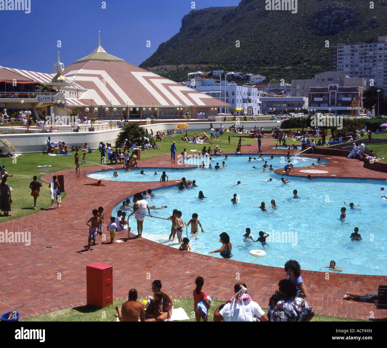 Bathers Crowding Into The Swimming Pool At Muizenberg Pavilion Cape Stock Photo Royalty Free