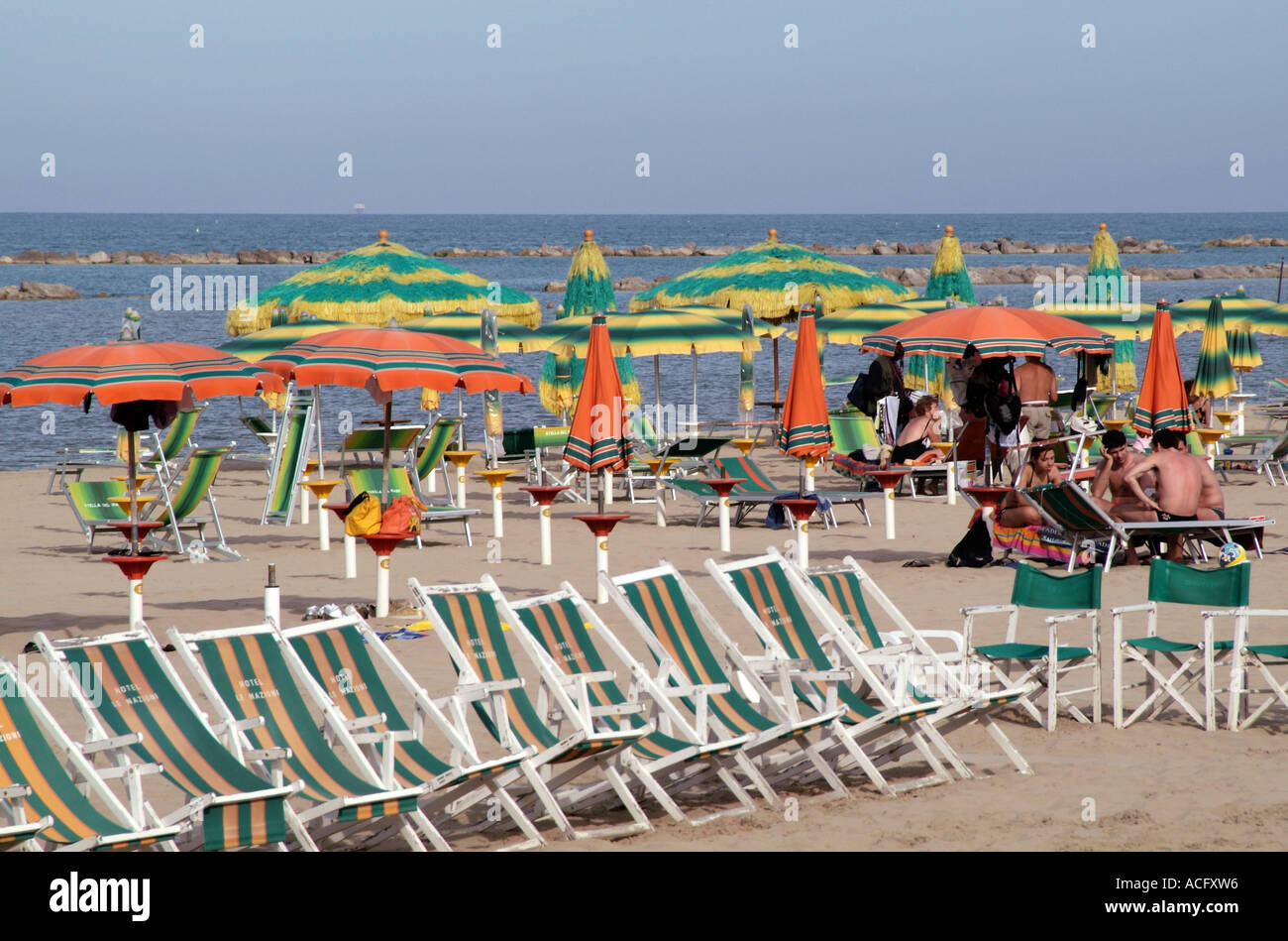 Stock Photo   Deck, Chairs, On, Beach, In, Pescara, Southern, Italy, Sun,  Shade, Umbrellas, Relax, Relaxing, On, Sand, Holiday Vacation, Ryana