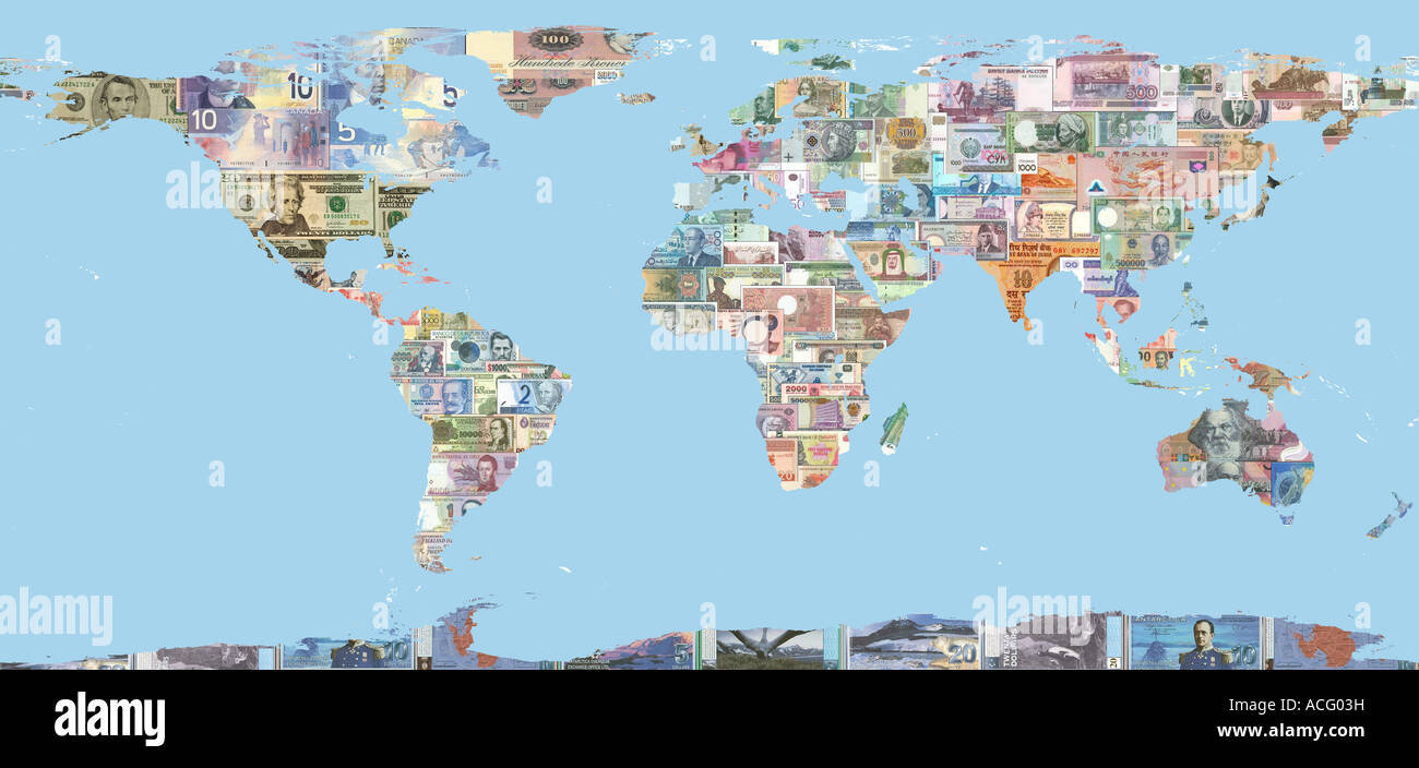 Map of the world filled in with bank notes from many countries map of the world filled in with bank notes from many countries arranged in a collage showing diversity of money gumiabroncs Gallery