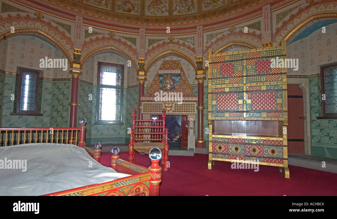 a bedroom inside castell coch, (the red castle), tongwynlais,south