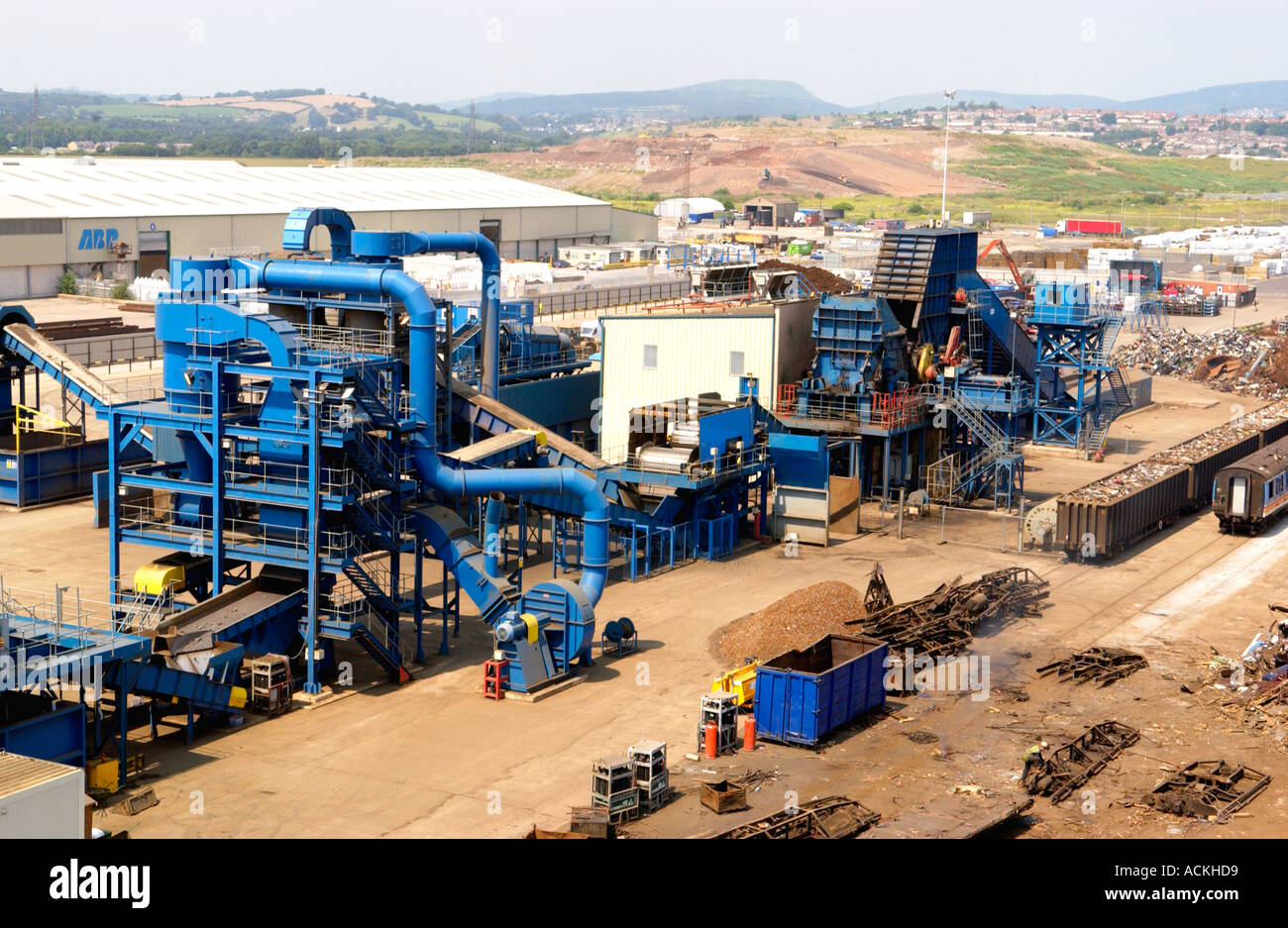 Stock Photo Metal Recycling Yard With The Worlds Largest Shredder At Simsmetal 4302296 on scrap metal shredding