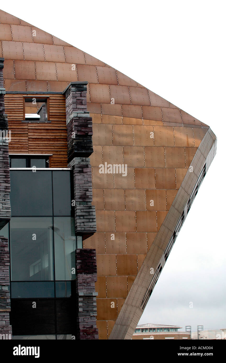Stock Photo   Welsh Slate Wall With Timber Cladding Glass And Stainless  Steel Roof Exterior Details Of The Wales Millennium Centre Cardiff UK