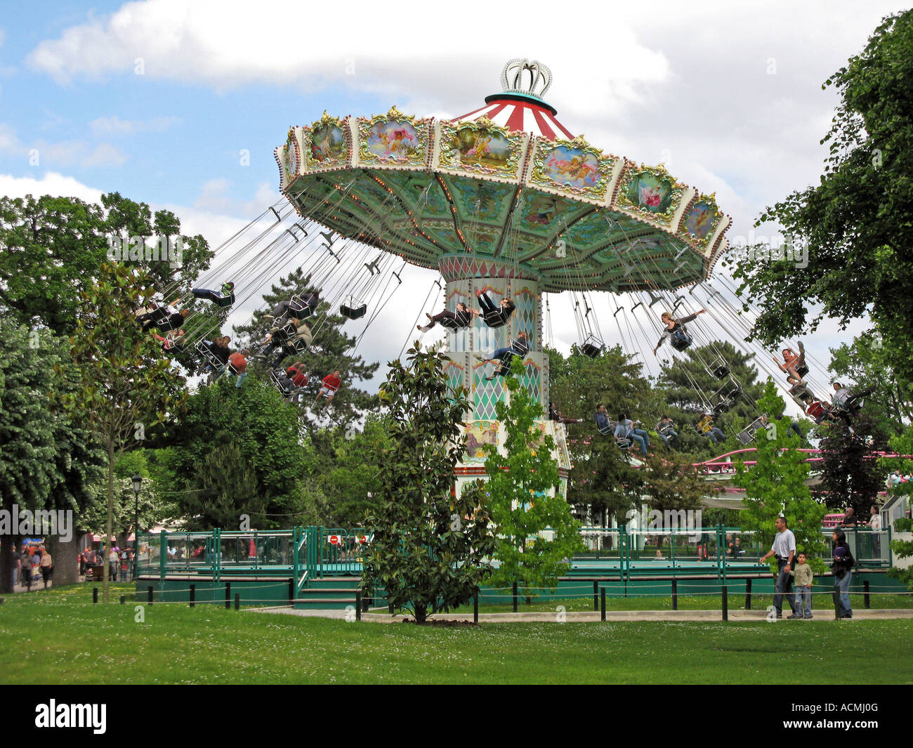 roundabout in le jardin d acclimatation paris france stock