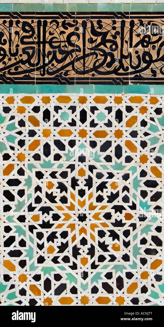 Islamic calligraphy and tiled mosaic zellij at bou for Fez tiles