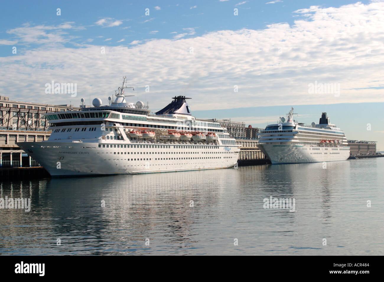 Cruise Ships Dock Boston Harbor Stock Photo Royalty Free Image - Cruise ships out of boston