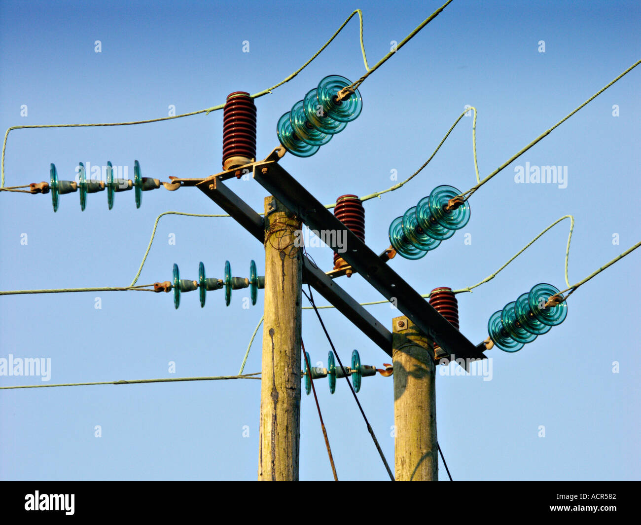 a power line with glass insulators stock photo 2454913