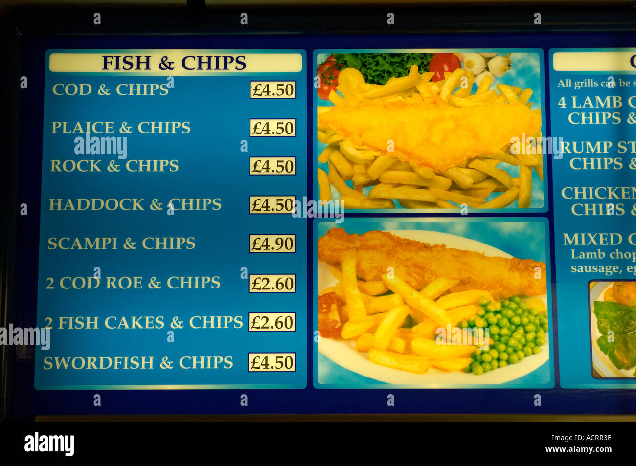 Fish and chips price board great britain stock photo for Fish stocking prices