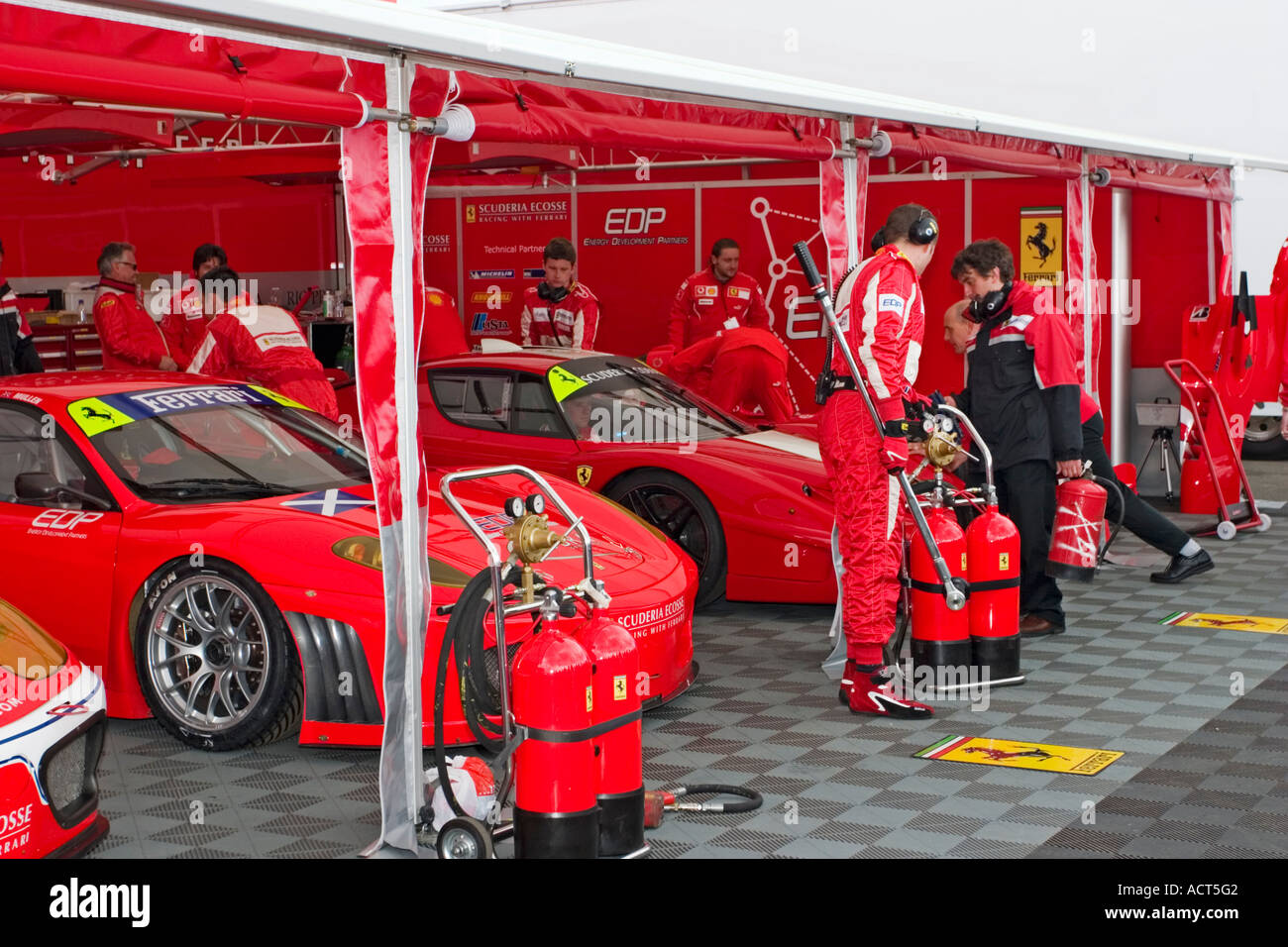 Ferrari And Enzo Fxx Race Cars In Pit Area At Knockhill