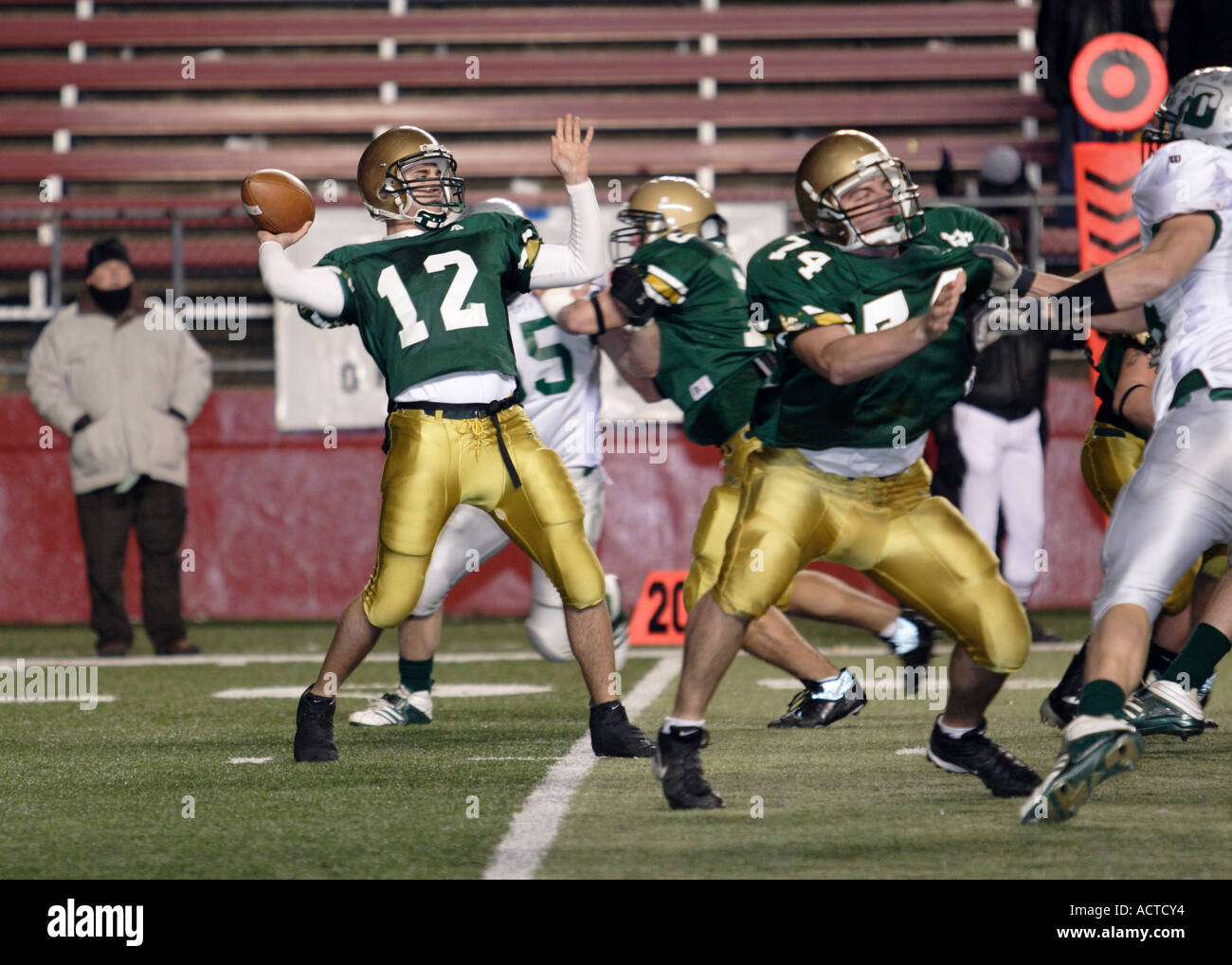quarterback throws a pass in american football stock photo