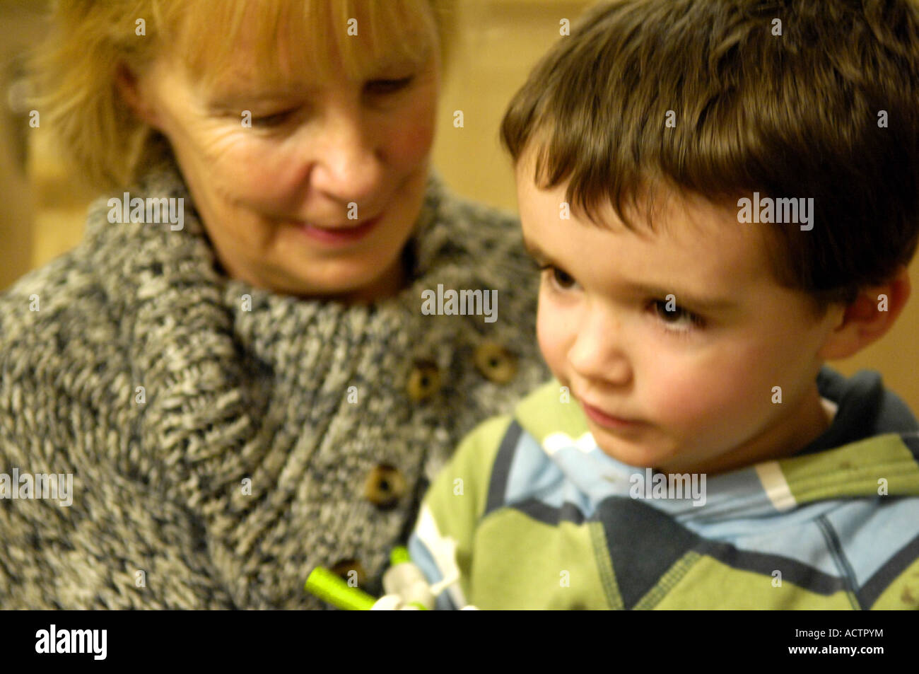 granny boy Stock Photo - boy four grandmother granny gran grandma together happy  loving infant young male lad kid child horizontal colour color portra