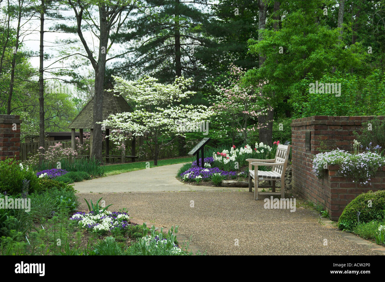 Spring Flowers In Bloom And A Walkway At The Cheekwood Botanical Gardens In  Nashville Tennessee USA