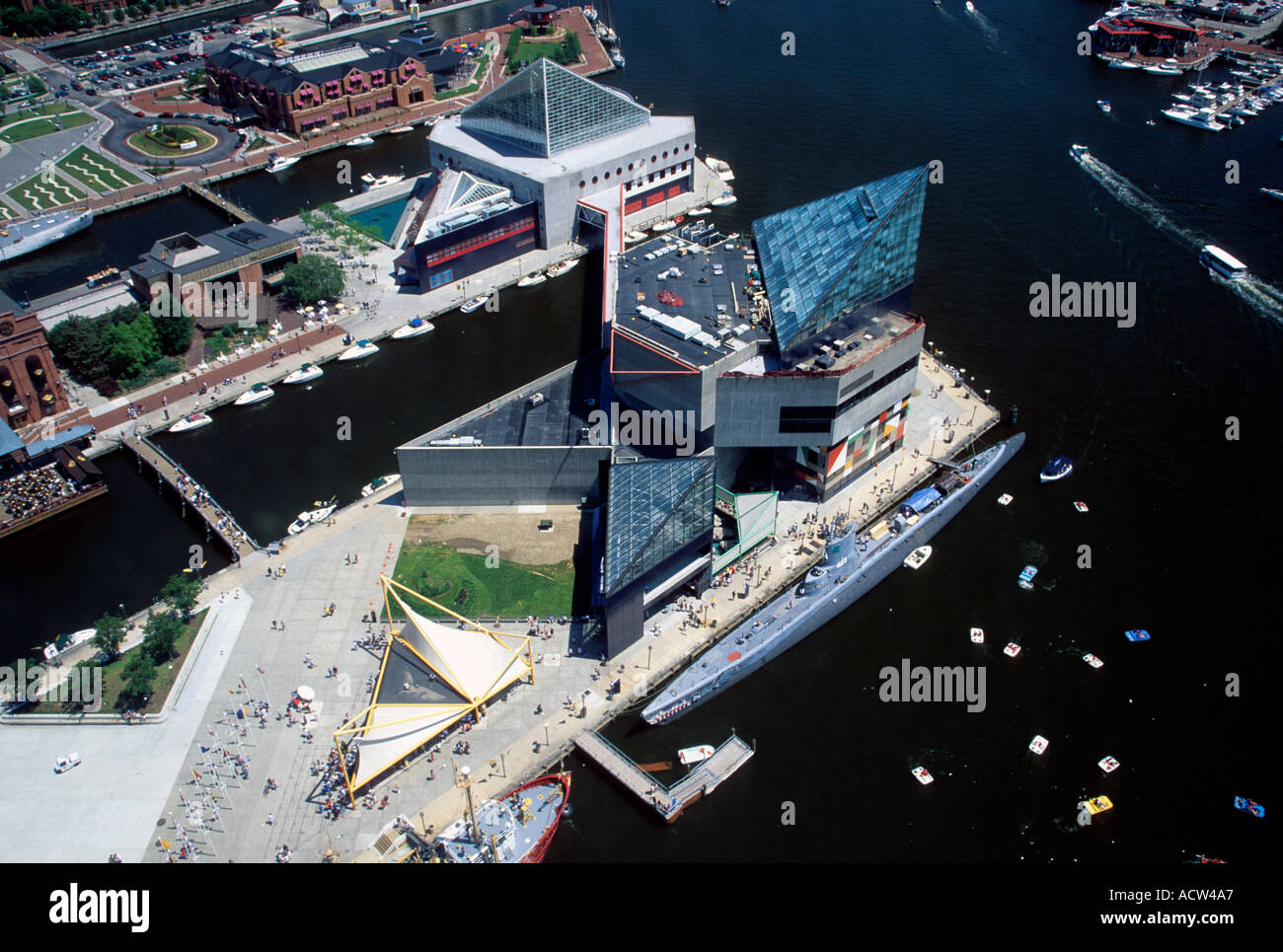 Aerial View Of Baltimore Inner Harbor And National