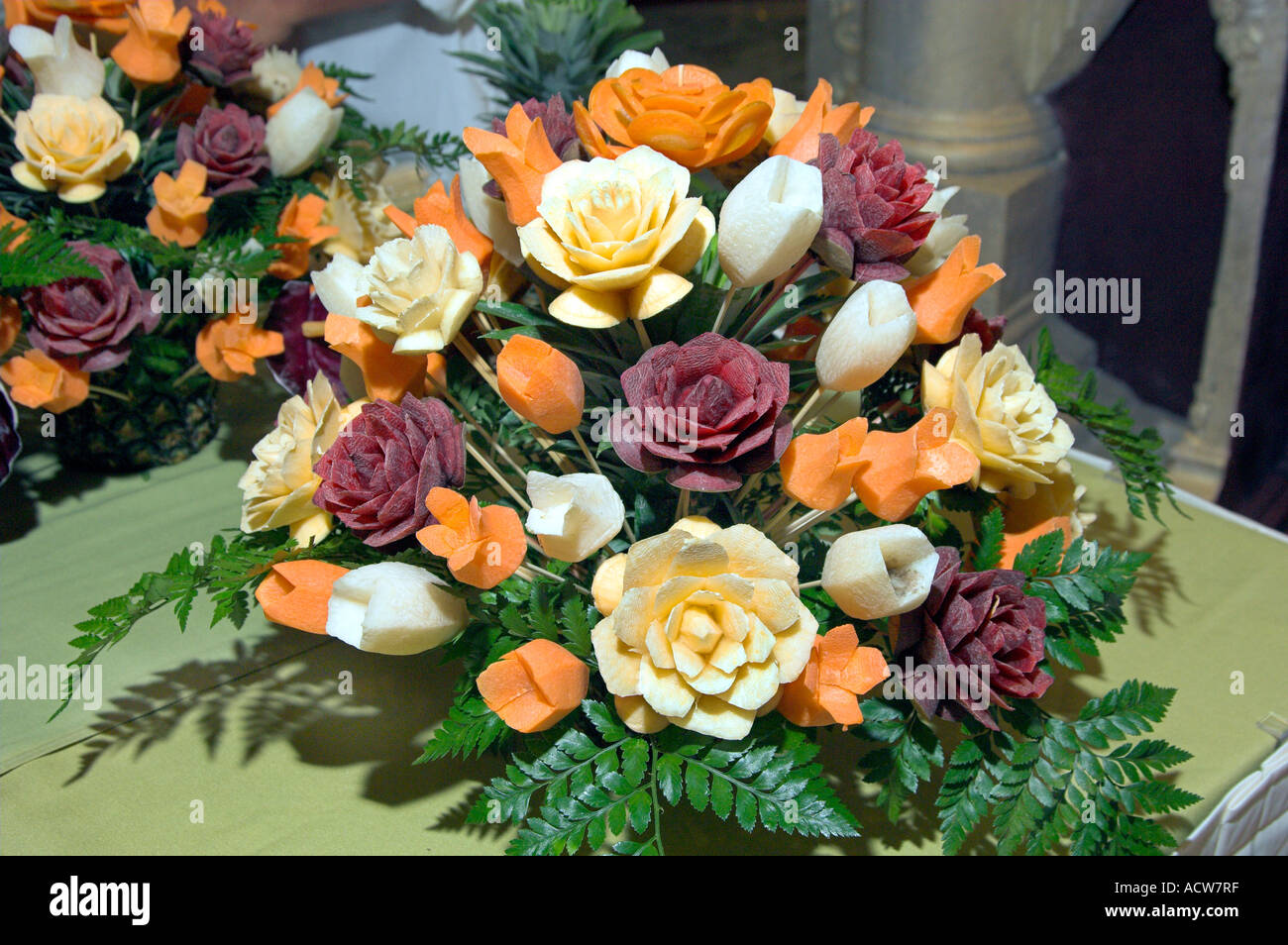 Closeup view of an arrangement flowers carved from