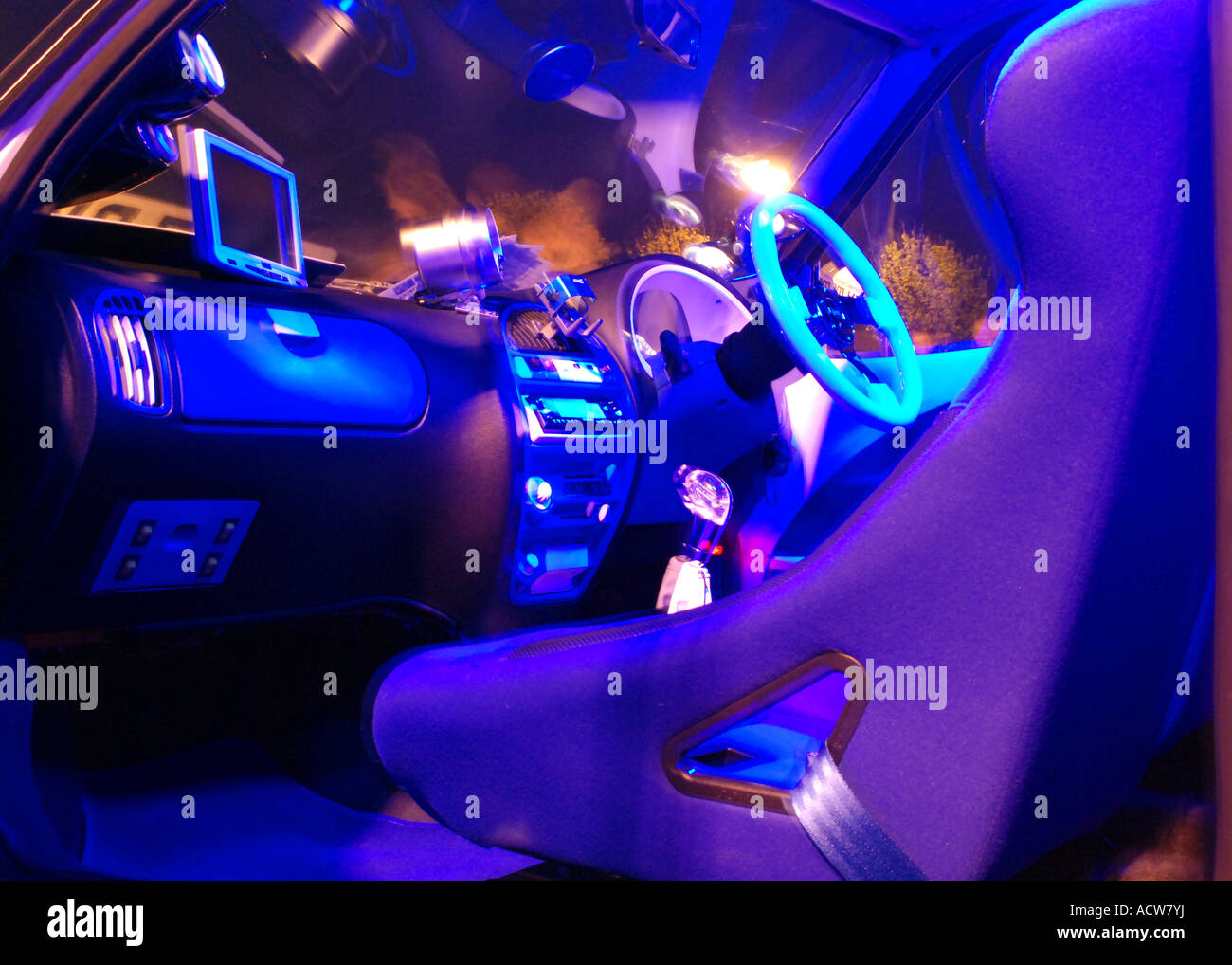 customized car interior with neon stock photo 13233461 alamy. Black Bedroom Furniture Sets. Home Design Ideas