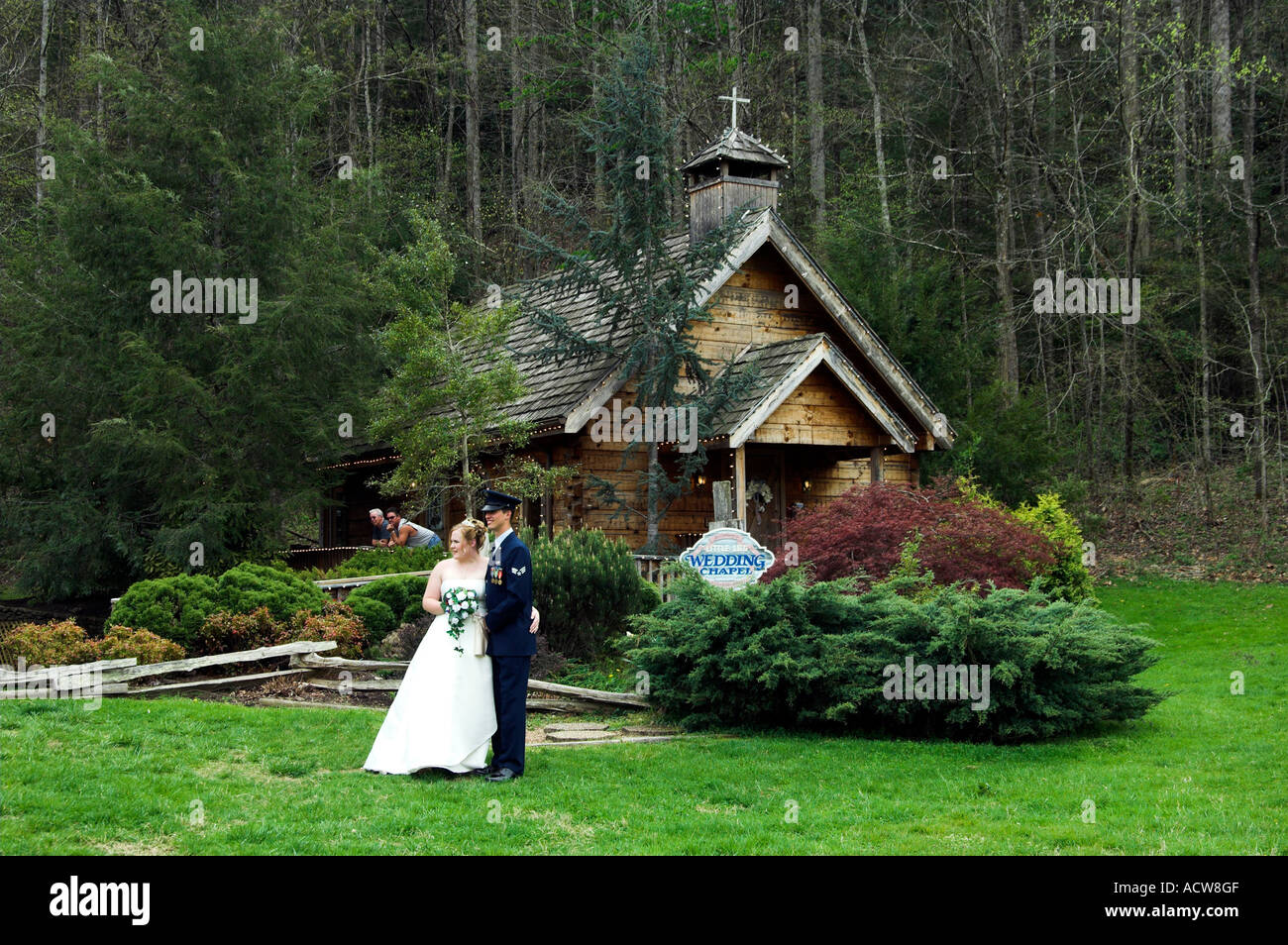 stock photo the little log wedding chapel in gatlinburg tennessee usa