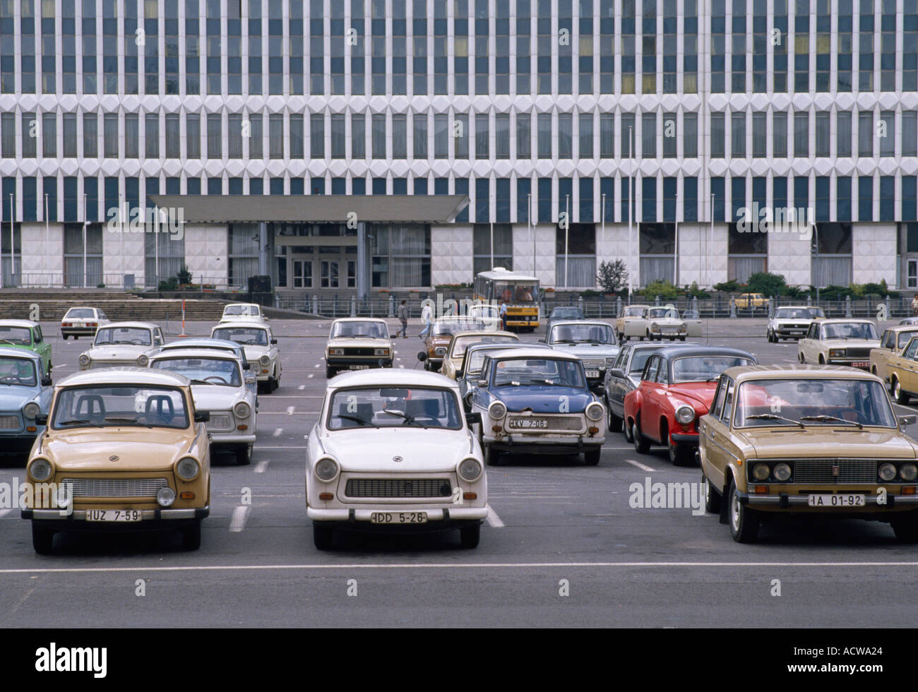 trabant cars in east berlin before the wall came down during the cold stock photo royalty free. Black Bedroom Furniture Sets. Home Design Ideas