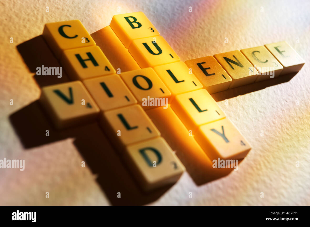 Worksheet Child Spelling scrabble board game letters spelling the words child bully violence