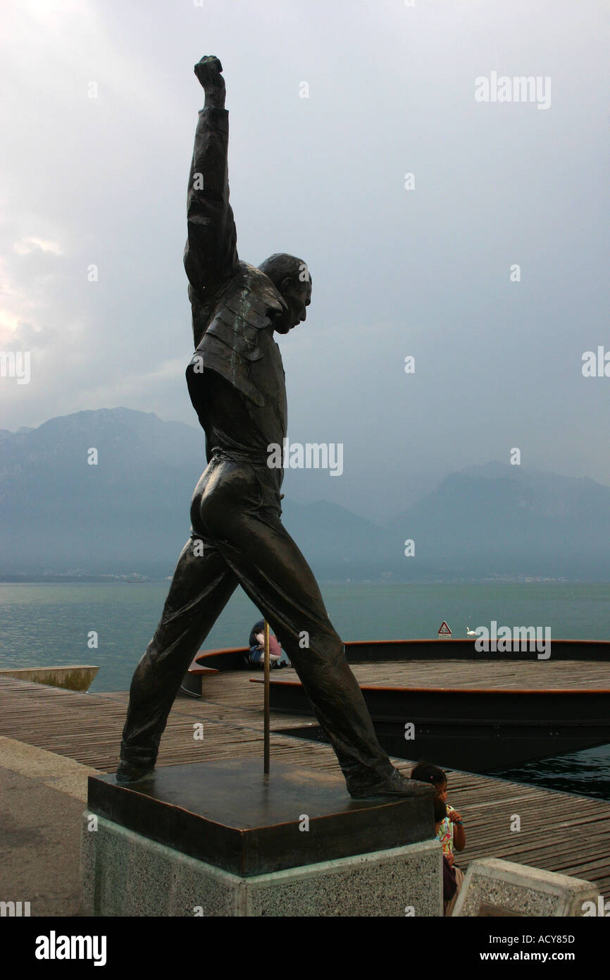 freddy mercury statue at montreux switzerland stock photo royalty