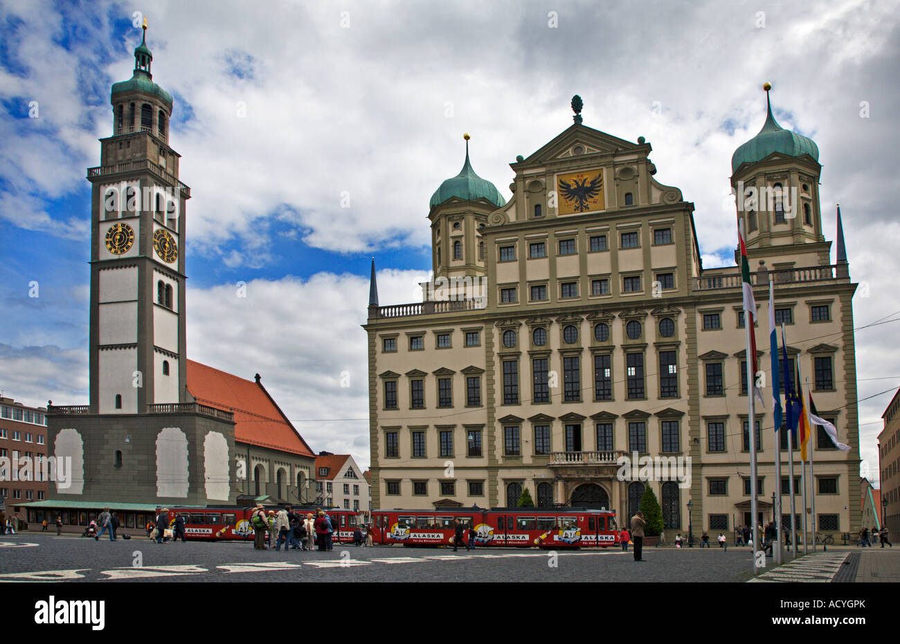 perlach tower and town hall augsburg germany stock photo royalty free image 13255242 alamy. Black Bedroom Furniture Sets. Home Design Ideas