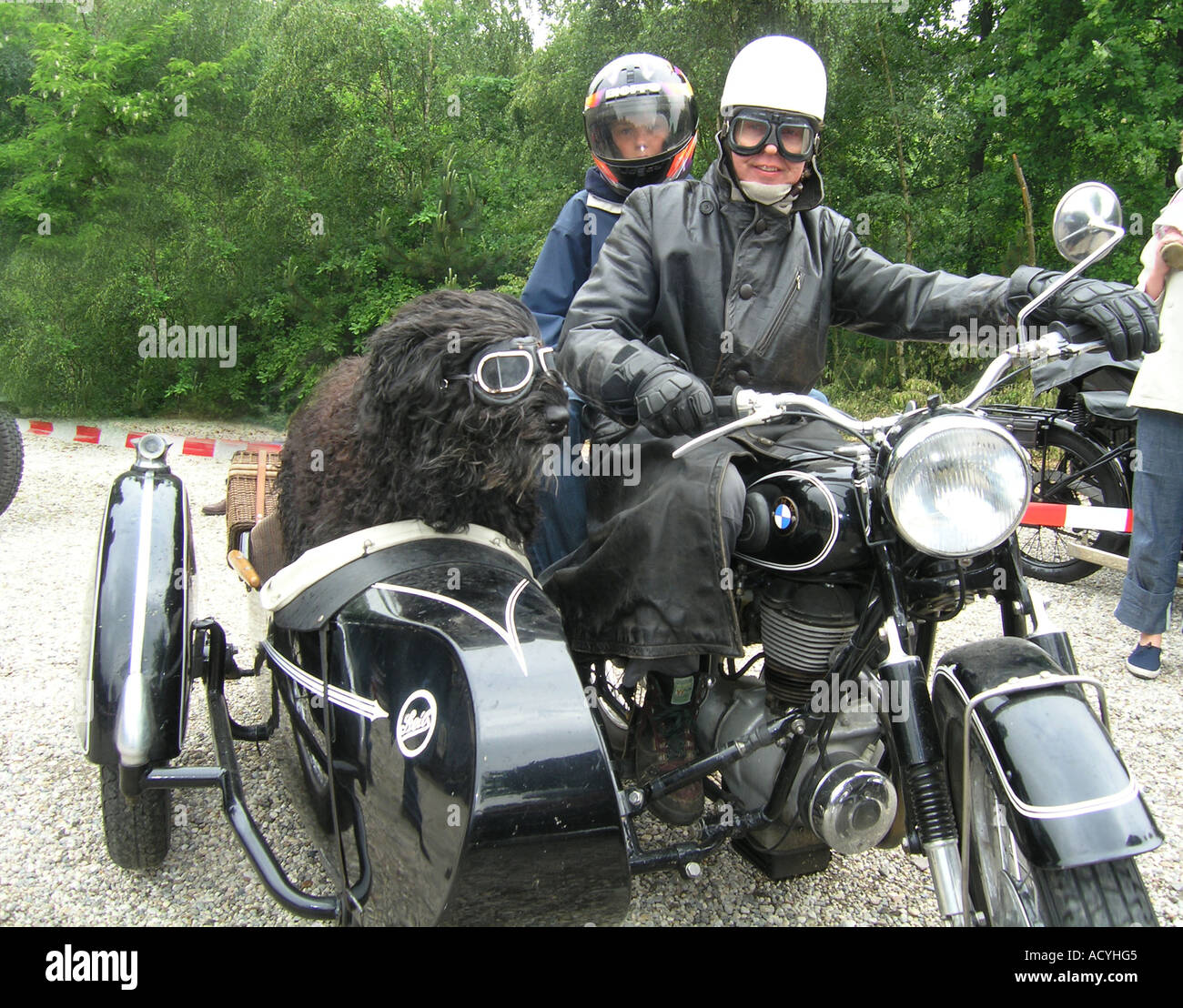 Couple On Vintage BMW Motorbike With Fluffy Black Dog In