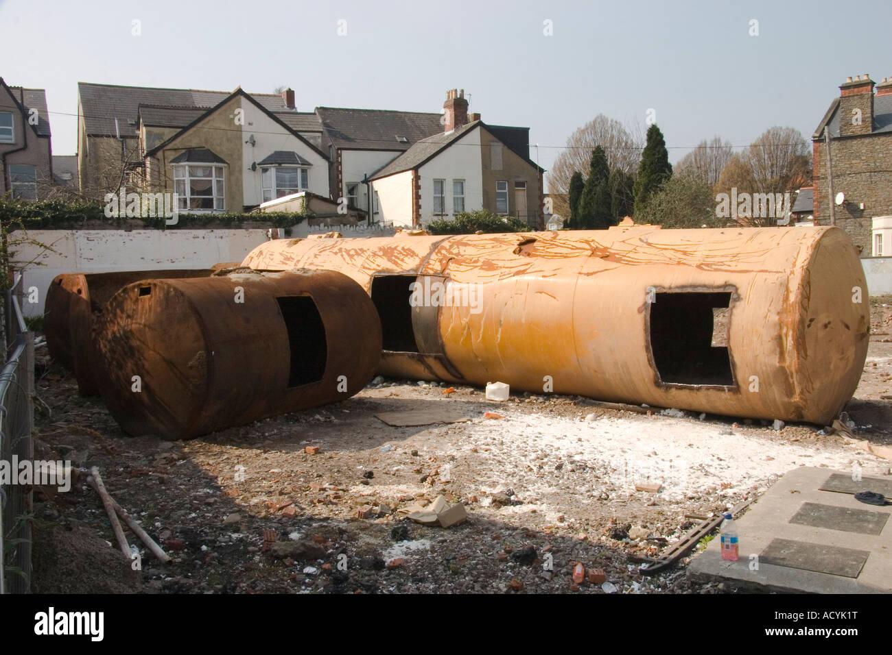 Storage Tank Demolition : Excavated petrol storage tanks on demolition site of old