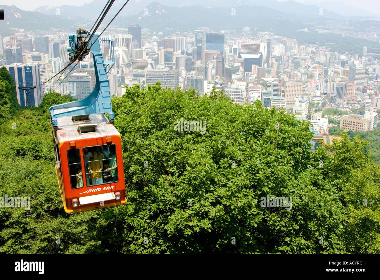 Namsan cable car - Cable Car To N Seoul Tower Seoul South Korea Stock Image