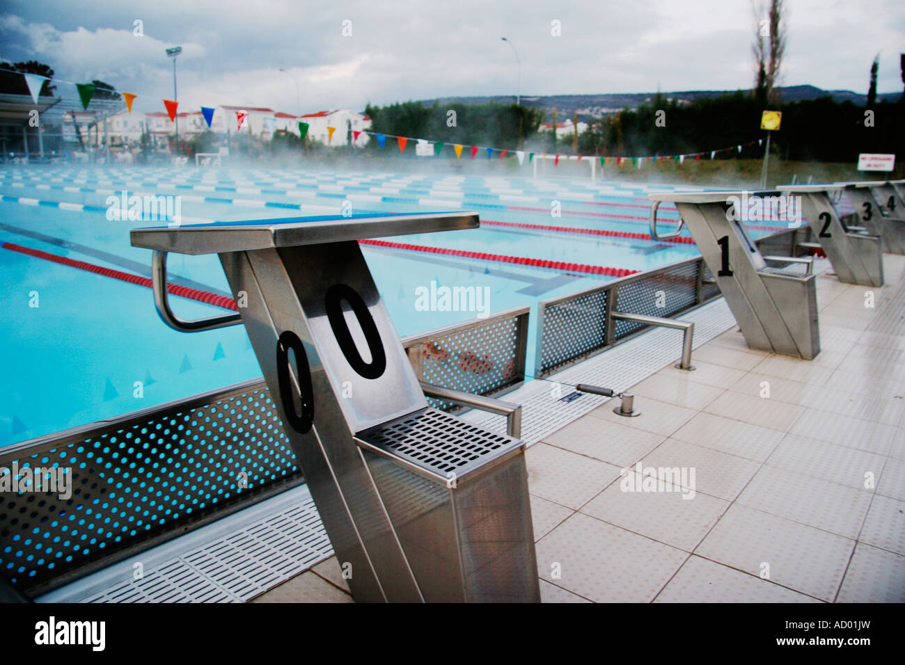 stock photo the starting blocks of an olympic swimming pool