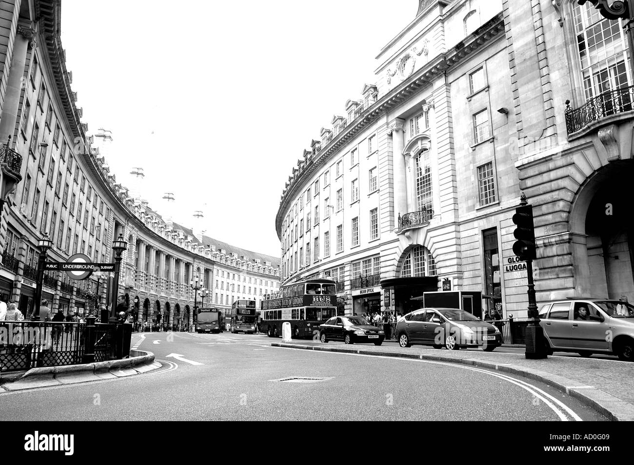 Regent Street in Central London with an old effect Stock Photo ...