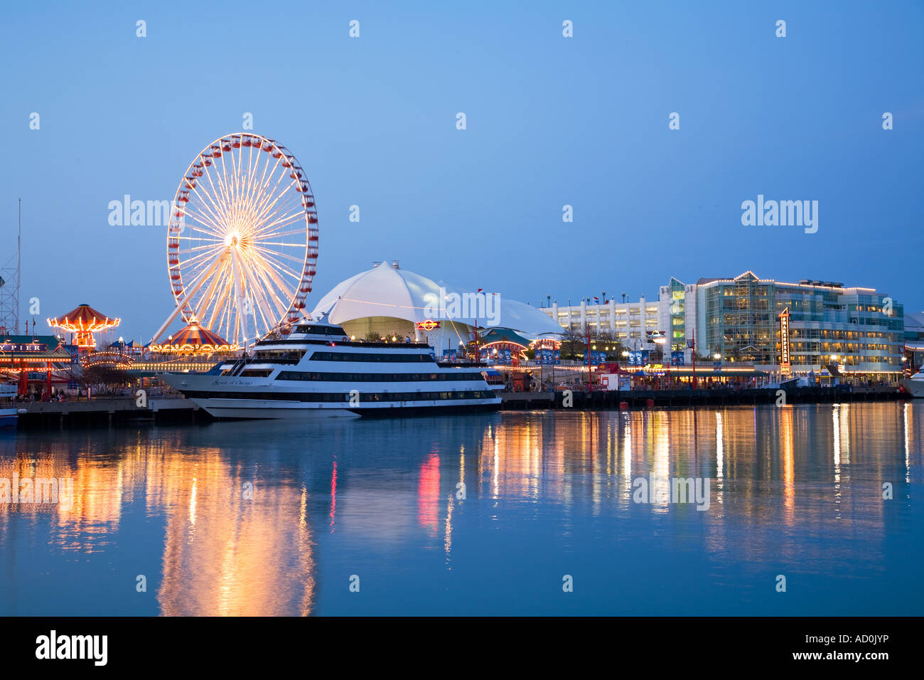 CHICAGO Illinois Buildings At Navy Pier At Night Lights Reflected - Chicago map navy pier