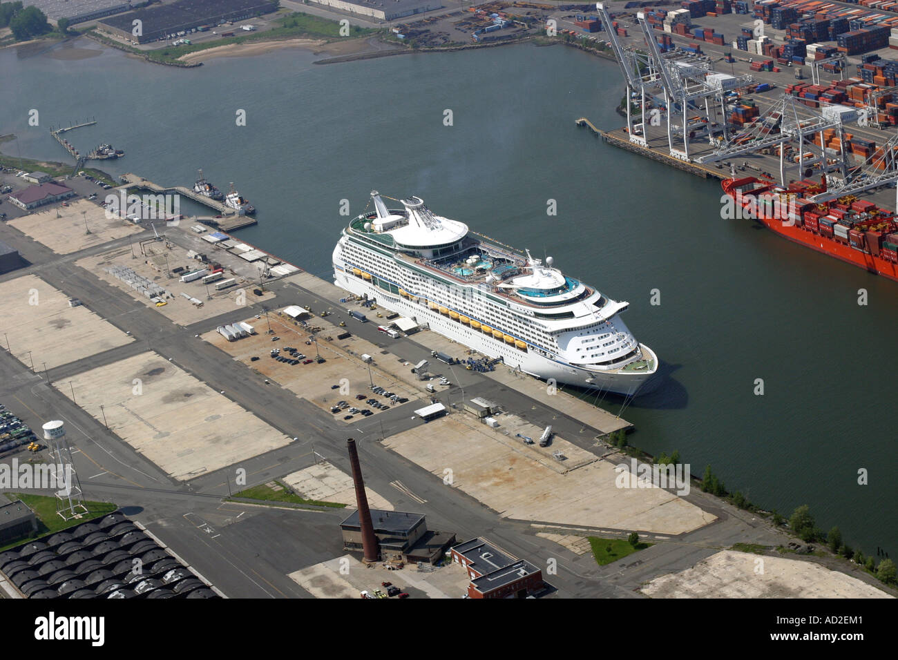 Aerial View Of Cruise Ship Docked At Bayonne New Jersey USA - Cruise ships from new jersey