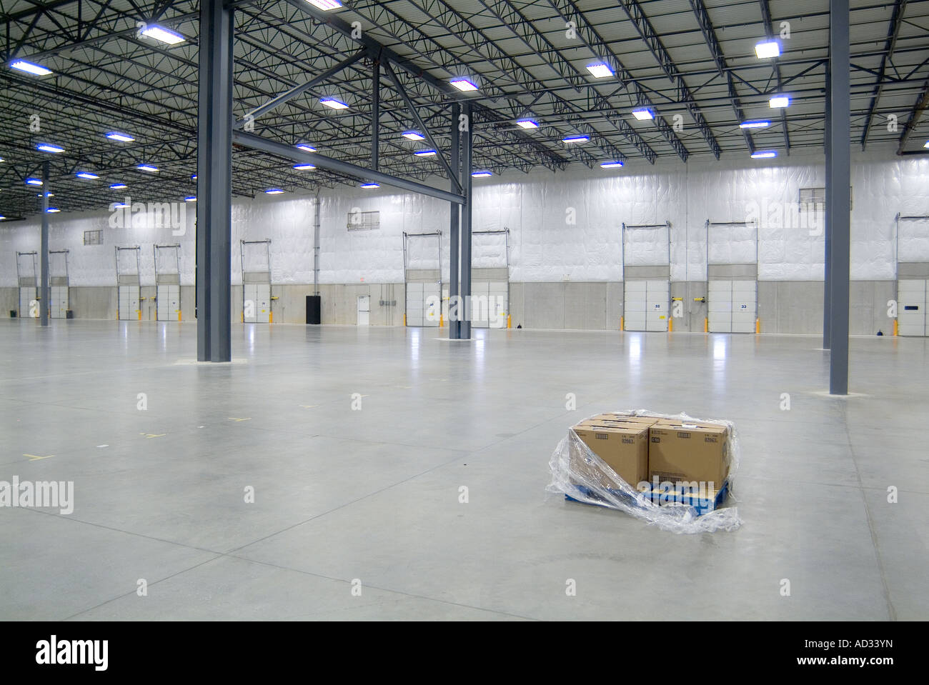 One Single Pallet Of Boxes In Large Empty Warehouse