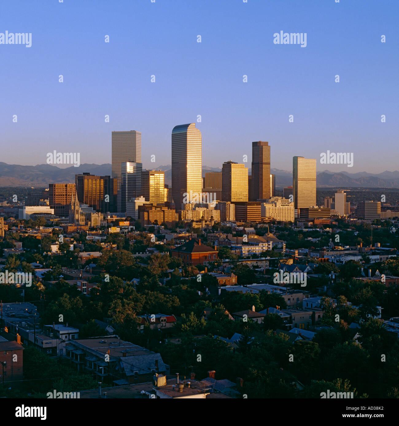 Skyline Of Denver, Colorado, USA At Sunrise With The Rocky
