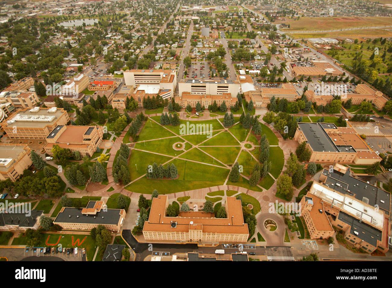 Aerial of university of wyoming campus in laramie wyoming usa stock photo