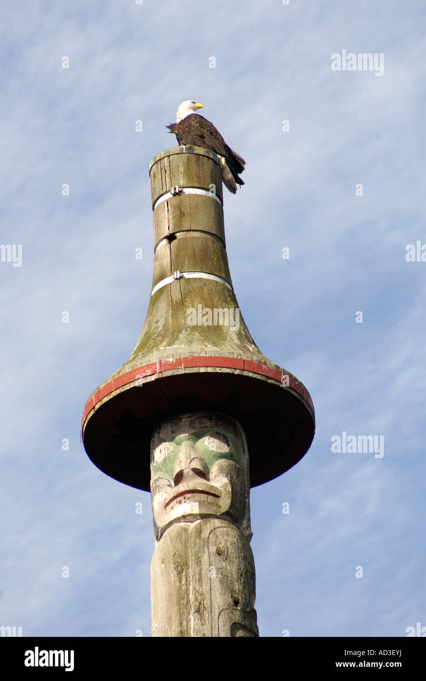 Bald_eagle_and_totem_pole_Vancouver_Brit