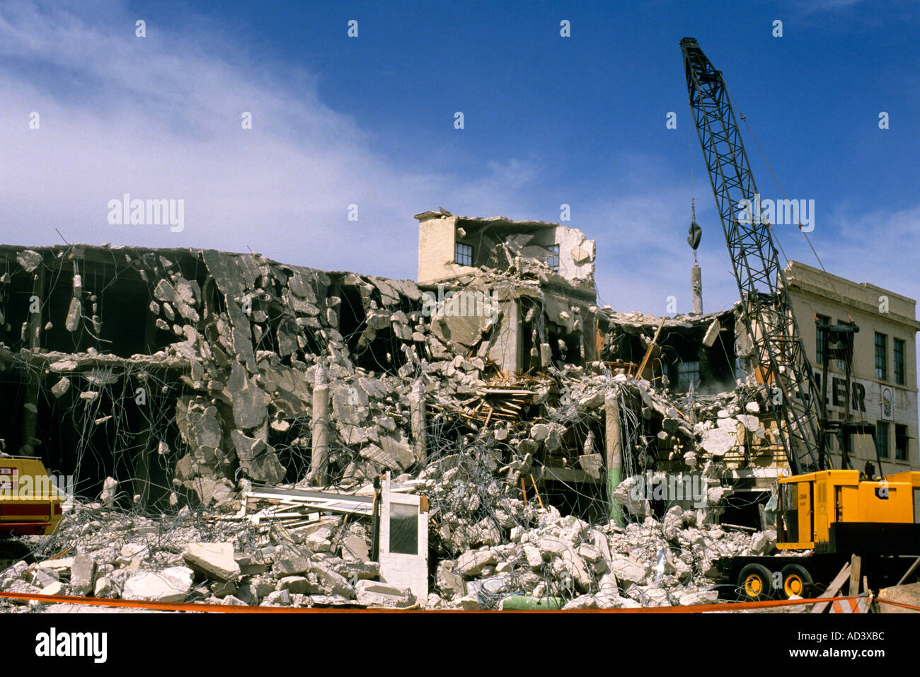 building demolition using a wrecking ball stock photo