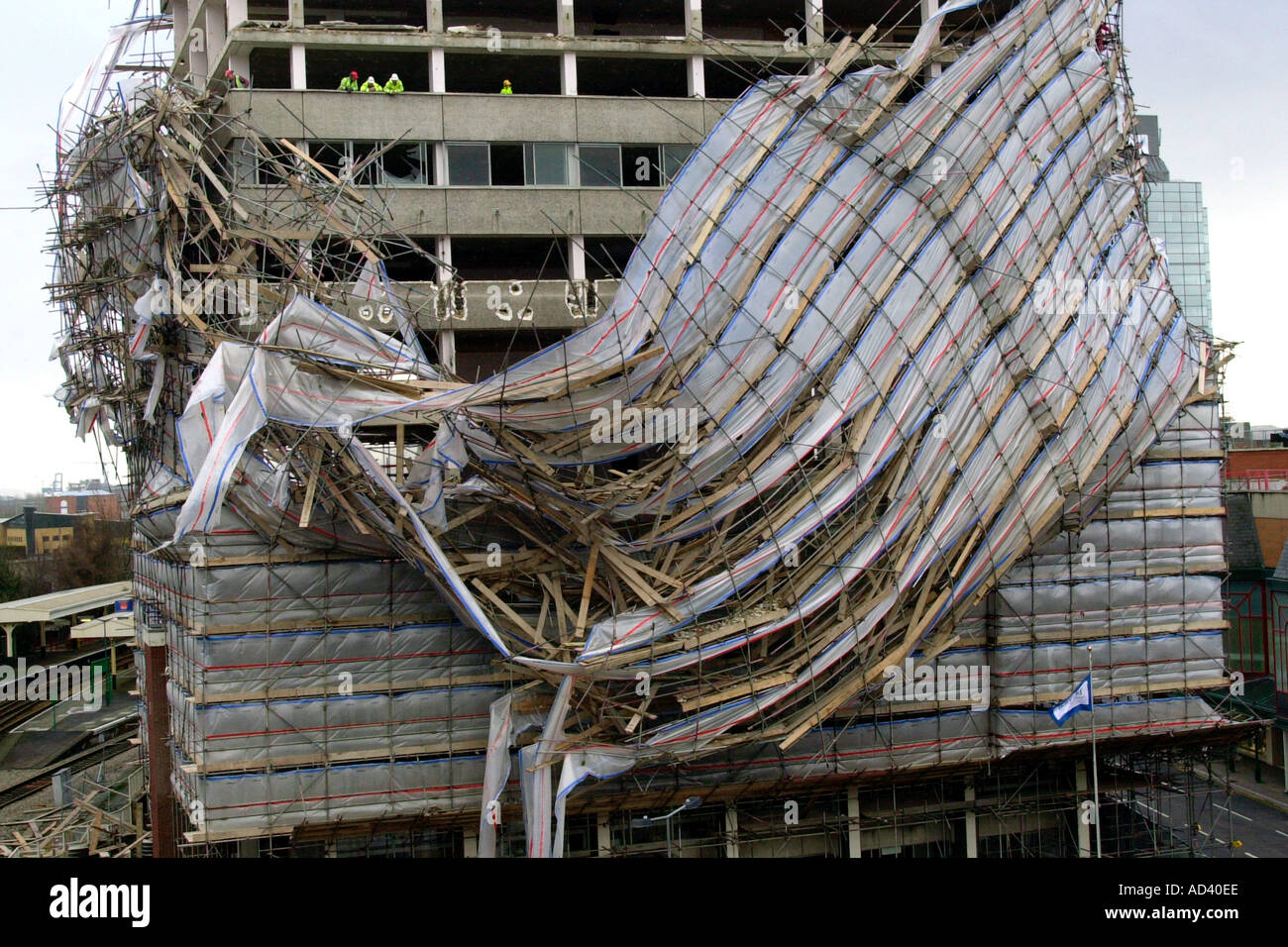 Aftermath Of High Winds In Cardiff Scaffolding Collapse On