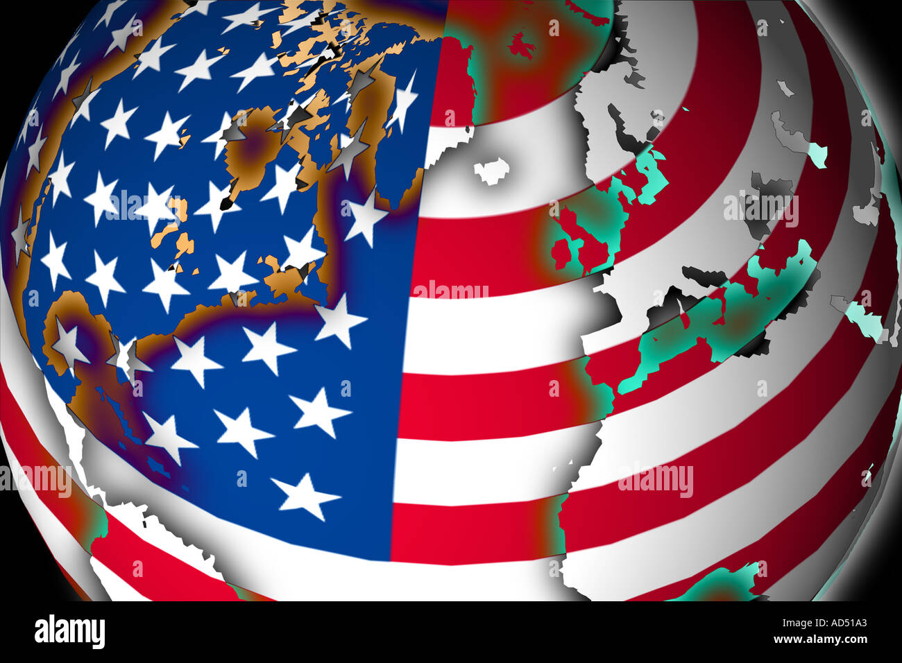 Round US Flag Ball with World Map Superimposed Stock Photo