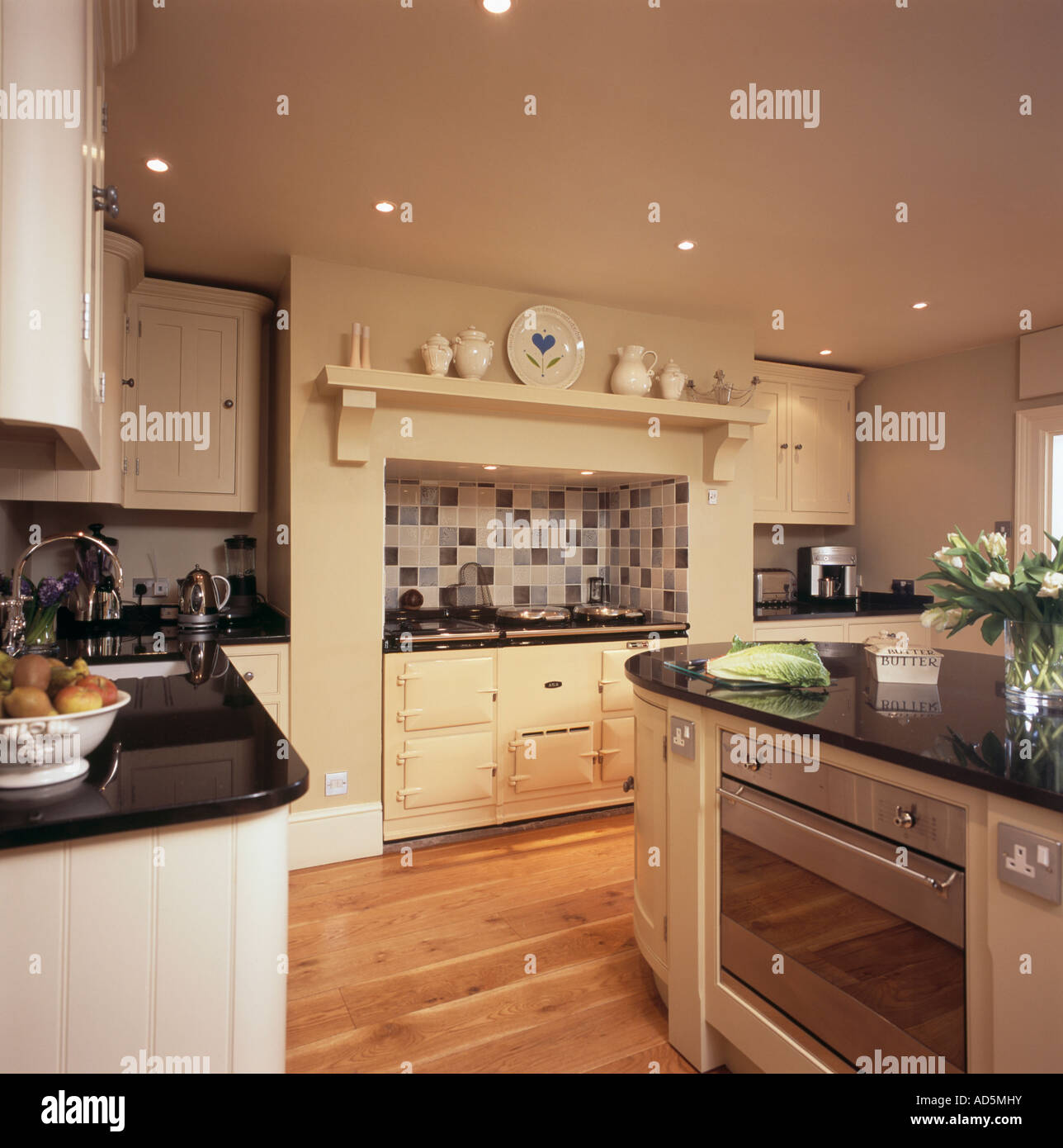 Kitchen With Living Room Design: Cream Aga Oven In Country Kitchen With Built In Oven In