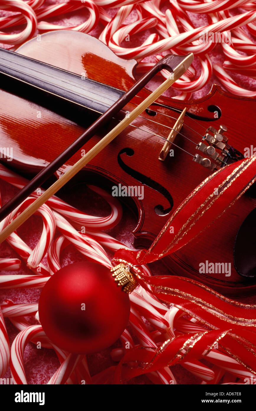Violin christmas ornaments - Stock Photo Violin With Bow And Candy Canes Christmas Ornament And Ribbon