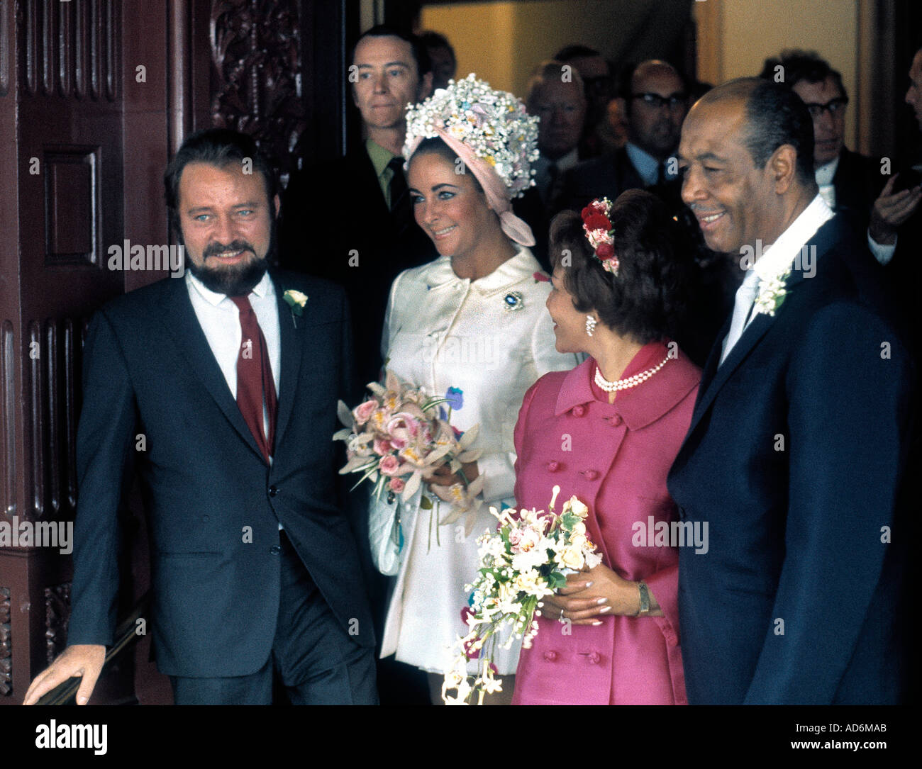 Actress Elizabeth Taylor And Actor Richard Burton Attend Wedding Of Robert Wilson Gladys Mills At Caxton Hall London In 1969