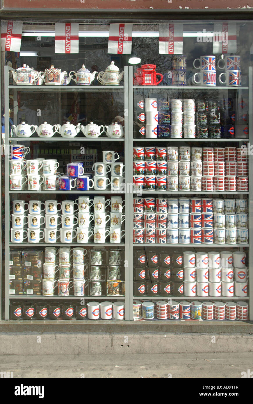 close up of london souvenir shop window display including mugs stock photo 13344310 alamy. Black Bedroom Furniture Sets. Home Design Ideas