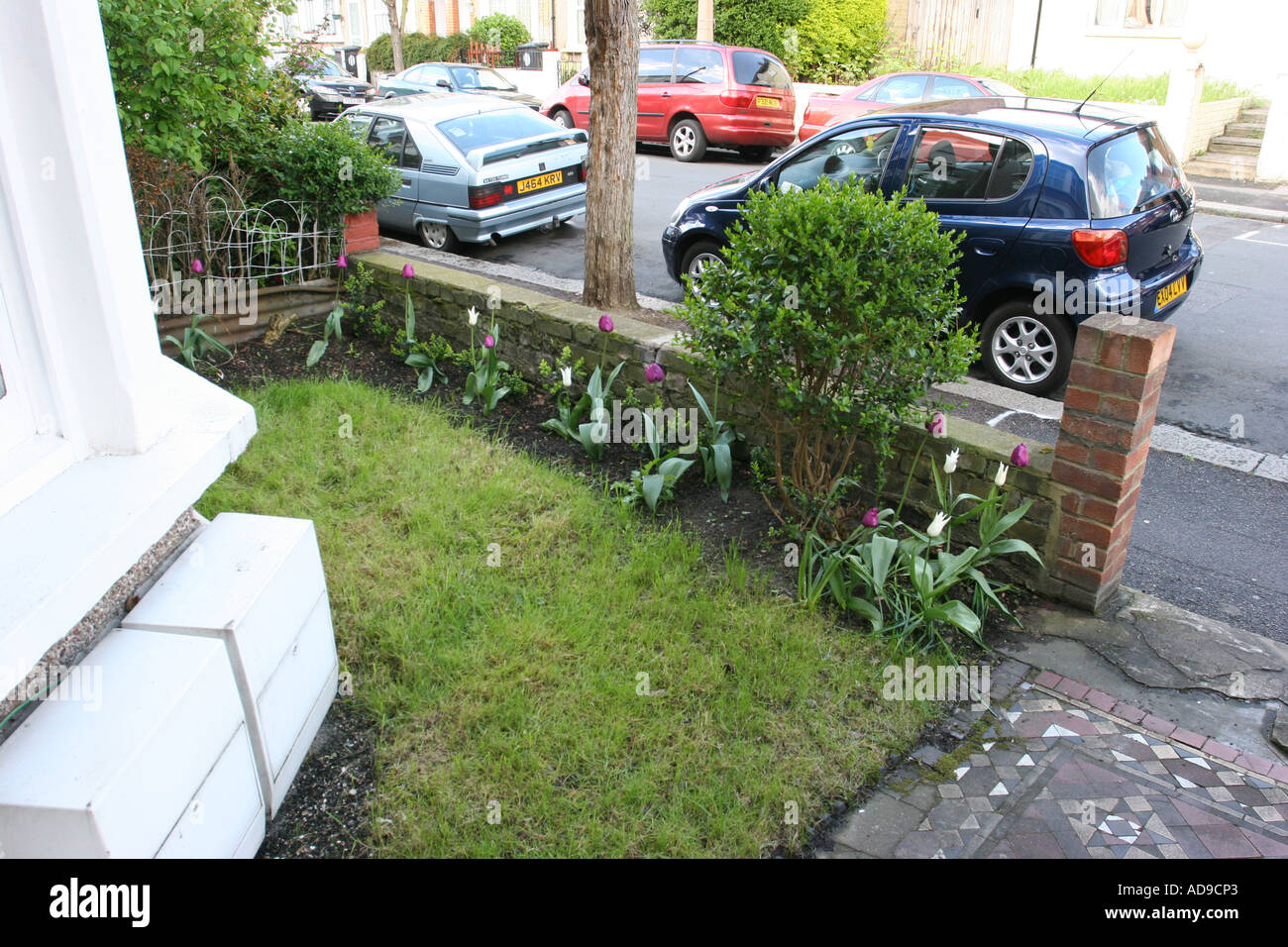 small front garden of a traditional victorian terrace house
