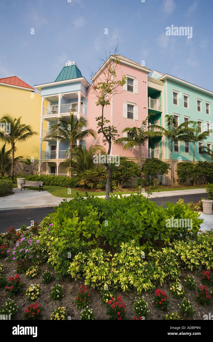 Paradise Island Bahamas colorful buildings and tropical palm trees ...