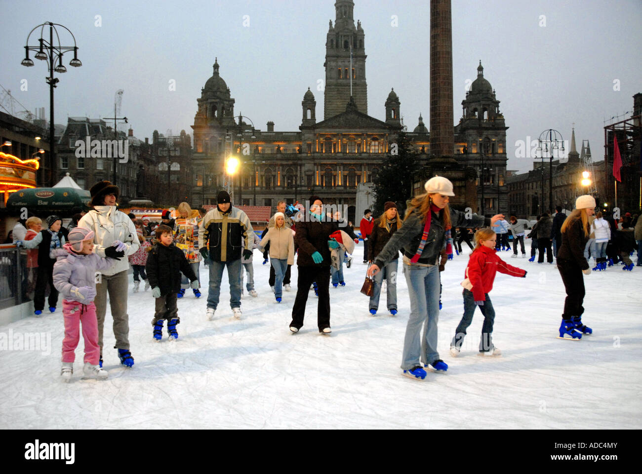 ice skating on outdoor ice rink george square city chambers in