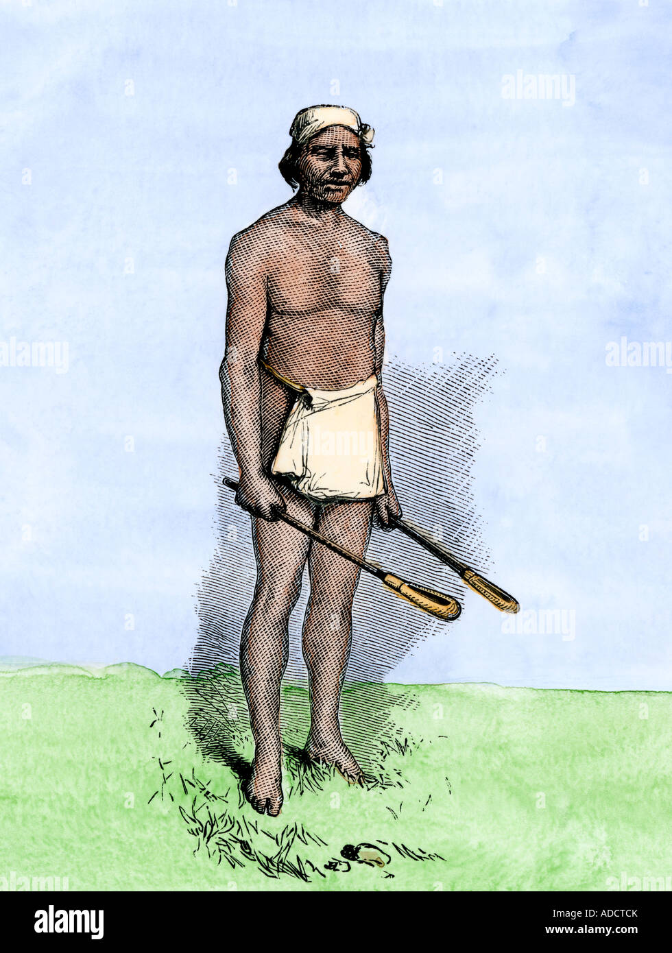 Choctaw Or Creek Ball Player With Native American Lacrosse